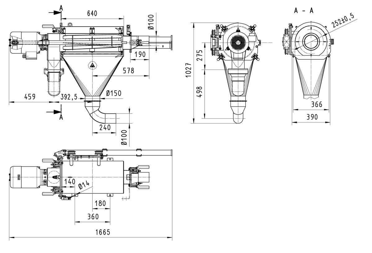 Оборудование для автоматизации, вихревой просеиватель AZO модель FA650 для использования в процессах транспортировки