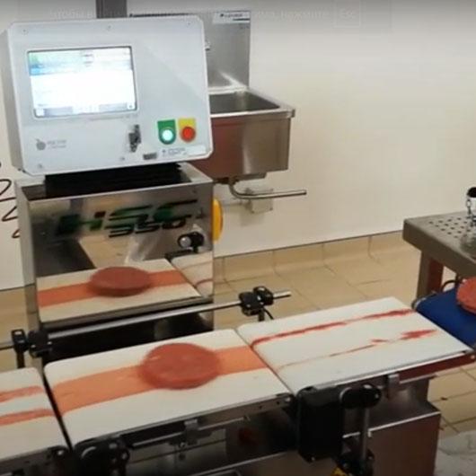 Контроль веса со статистикой веса для филе мяса и котлет гамбургера, готовое оборудование Украина