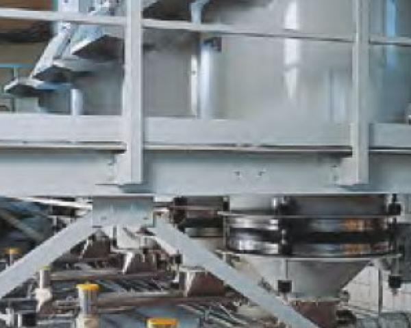 Оборудование для автоматизации, выгрузка с помощью вибрационного дна у беспылевого растаривателя AZO модель ET F